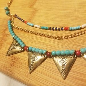 Jewelry - Tribal-ish Gold Spike Turquoise Necklace